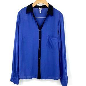 Splendid blue black button up shirt blouse